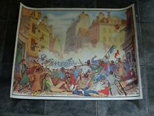 More details for double-sided 1950s/60s french school poster : revolution 1830/ first railway