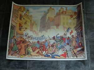 Double-sided 1950s/60s French school poster : Revolution 1830/ first railway