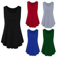 Women Summer Button Sleeveless Scoop Neck Shirts Pleats Solid Tunic Tank Top USA