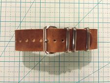 18mm Horween English Tan Dublin Leather military-style handmade Watch Strap Band