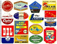 AIRPLANE TRAVEL TRUNK Stickers, 1 Sheet, 14 Suitcase Luggage Label REPRODUCTIONS