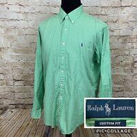 RALPH LAUREN Custom Fit Men's Green Striped Button Down Shirt Sz XXL