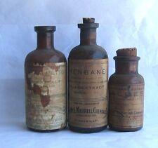 VTG 3x Wm s Merrell bottles w cork Henbane Niger Aloes Saw Palmetto Fluidextract
