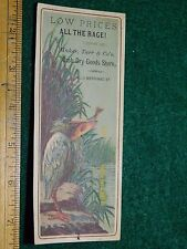 1870s-80s Maker Tarr & Co Dry Goods Store Tucan Eating Victorian Trade Card #O
