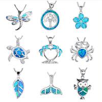 925Silver Filled Blue Opal Sea Turtle Pendant Necklace Ocean Beach Jewelry Gift