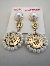 Betsey Johnson lucky charms faux pearl~horseshoe coin drop earrings, NWT