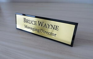 60mm x 300mm Executive Personalised Desk Name Plate, Custom Engraved Sign