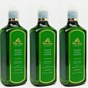 Bath & Body Works White Barn WINTER CITRUS WREATH Gentle Gel Hand Soap lot 3