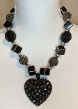 Large Black Heart Embellished Necklace Black/Silver/Crystal Connector Beads