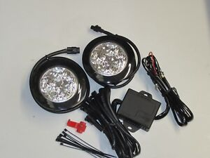 Round LED Day Running Lamps DRL Lights Universal Fit