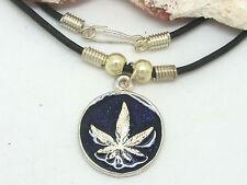 cannabis feuille de Chanvre Chaîne pendentif collier BLEU CHANVRE rasta reggae