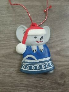Handmade Ceramic Christmas Ornament Mouse Jingle Bell Handpainted  Red String
