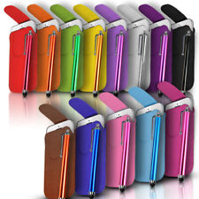 MAGNET BUTTON LEATHER PULL TAB CASE COVER POUCH & PEN FOR VARIOUS PHONES/MOBILES