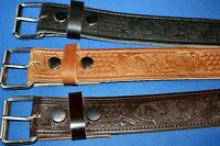 Deer Scene Bridle Leather Belt Hand Made Real Leather Crafted in England