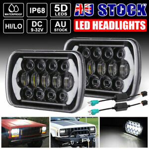 Pair 5x7'' LED Headlights Hi/Lo Beam DRL w/H4 Adapter For Toyota Hilux 1983-2004