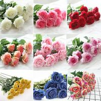 20/10pc Real Touch Latex Artificial Rose Flower Bouquet Home Wedding Party Decor