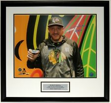 MARIAN HOSSA AUTOGRAPHED BLACKHAWKS 500TH GOAL 16X20 PHOTO HIS COA CUSTOM FRAMED