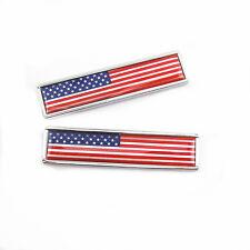2 x Car SUV Pickup Body Side Fender Tank Cover USA Flag Logo Metal Sticker Badge