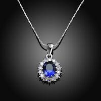 6.4Ct Oval Blue Tanzanite White Topaz Silver Pendant Chain Necklace
