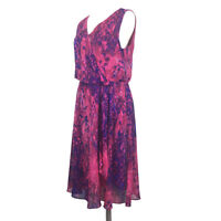 Coldwater Creek Floral Wrap Dress Size 10 Pink Lined Sleeveless V-Neck Hippie