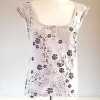 New Look Women's Grey Silver Size 12 100% Cotton Butterflies Floral Casual VGC