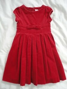 Gymboree RED real VELVET pleated quality dress SIZE 4 CHRISTMAS HOLIDAY girls