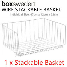 Metal Wire Stackable Basket Shelf Bin Tray Tier Shelve Storage Organiser Kitchen