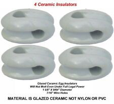 4 Egg Style Ceramic Insulators For Dipole & Other Antennas - Ham Radio Shortwave