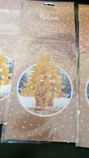 GOLD METALLIC FOIL CHRISTMAS TREE HANGING DECORATIONS