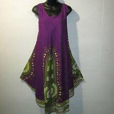 Dress Fits 1X 2X Plus Sundress Purple Yellow Dashiki A Shaped Tunic NWT 7150