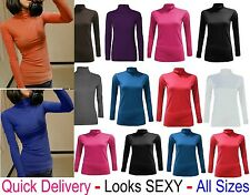 Ladies Women Stretch Polo Turtle Roll Neck T Shirt Jumper Top UK Plus Size 'polo