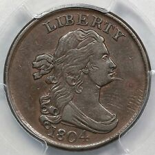 1804 C-5 R-4 PCGS XF 45 Spiked Chin Draped Bust Half Cent Coin 1/2c