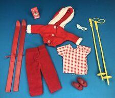 VINTAGE Barbie sister SKIPPER Pepper CLONE vestiti da sci Inverno Rosso Accessori