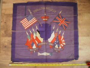 WW 1 Royal Navy British American and Allied Flags Gibralter Silk Embroidery