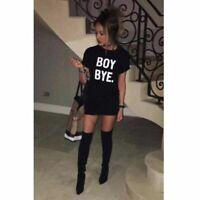 Women Ladies Black BOY BYE Turn Up Short Sleeve T-Shirt Tops Slim Dress UK 8-26