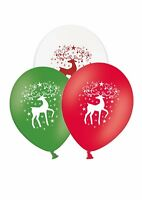 """Christmas Reindeer 12"""" Printed Latex Assorted Balloons By Party Decor 25ct"""