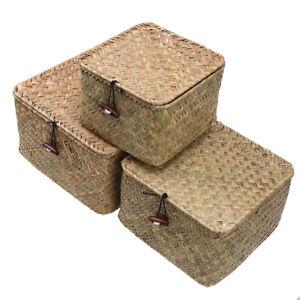 Storage Basket With Lid Woven Rattan Sundries Storage Box Wicker Basket Handmade