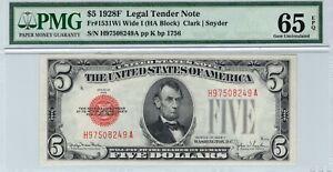 1928-F $5 Legal Wide I Gem Fr. 1531Wi HA Block PMG 65 EPQ Clark Snyder Note