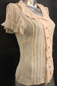 10 ALANNAH HILL $249 Voodoo Doll 17 Ivory Cream Rose Floral 100% Silk Blouse Top