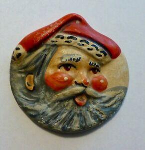 Vaillancourt Folk Art Chalkware ROUND SANTA FACE Ornament..Retired