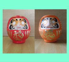 Une paire de petit Poupée Daruma Rouge & Orange du Takasaki-modèle
