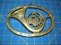 """Enesco Brass French Horn Trivet or Wall Hanger Vintage 7"""" by 5"""""""