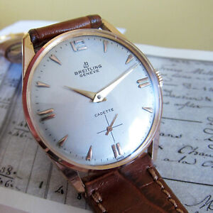 Breiting Mens watch 1950s Vintage Swiss Made silver DIAL,17 Jewels Movement
