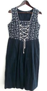 Damen Trachten Kleid ärmellos blau geblümt Gr. 36 v. B.