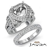 Diamond Engagement Ring Heart Halo Pave Setting Bridal Set 14k Gold White 3.9Ct