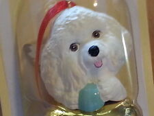3 Pc Set BICHON Dog Figurines Brass Bells By DNC Collections Gold Lot Ornaments