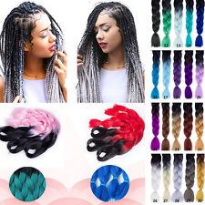 "24""Ombre Beauty Color Braiding Hair Purple Grey Crochet Kanekalon Braid Hair #21"