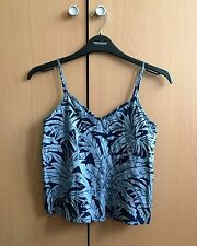 Topshop - Blue/Navy Tropical Palm Print Sleeveless Strap Crop Top UK 4 Petite