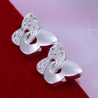 ASAMO Damen Ohrstecker Schmetterling Ohrringe Sterling Silber plattiert O1146