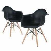 2er Esszimmerstuhl Büro Sessel Kunststoff Wohnzimmer schwarz Cafe Stühl